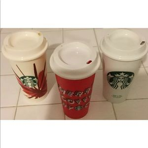 NWOT Trio of Starbucks 16 oz Plastic Travelers